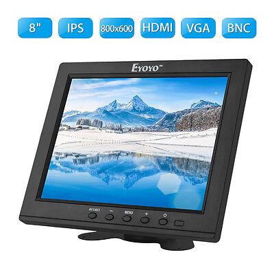 8 ZOLL IPS VIDEO MONITOR VGA BNC HDMI AV EINGANG AUDIO 800X600 CCTV DVD FPV DVR