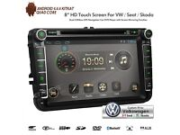 """8"""" Android HD GPS WiFi Internet Bluetooth DVD USB SD Player Aux Car Stereo For Volkswagen Skoda Seat"""