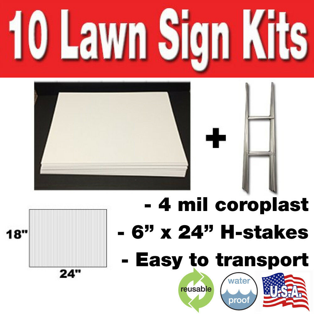 10 Pack Blank Yard Signs 18x24 with H-Stakes for Garage Sale