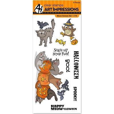 Art Impressions Halloween Clear Meow-llween Stamp Set Cats Bats Owl - Halloween Bat Arts Crafts