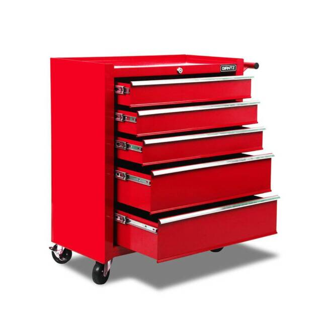 Giantz 5 Drawer Mechanic Tool Box Storage Trolley - Red ...