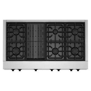 Plaque de cuisson au gaz KitchenAid 48 po, 20 000 BTU, Stainless, Showroom