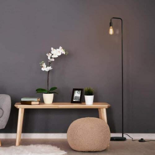 Minimalist Metal Industrial Standing Lamp with Marble Base