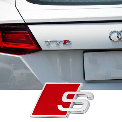 OEM Audi S line Chrome Polish Metal Emblem Side Fender Badge Trunk Sticker Trim