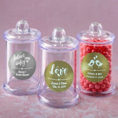 Apothecary Jar Favors - 60 Personalized Apothecary Candy Box Jar Wedding Bridal Shower Party Favors