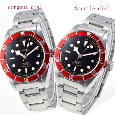 41mm CORGUET black dial red bezel Sapphire 12 jewels miyota automatic mens Watch