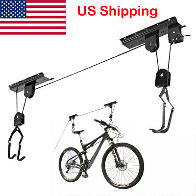 Bike Bicycle Hanger Pulley Rack Hoist Storage Garage Lift Ceiling Mounted 2020 Ceiling Bike Rack