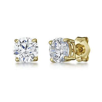 2ct CZ Stud Earrings Brilliant Cut 6mm Cubic Zirconia Men Women 14K Gold (Brilliant Cut Butterfly Earrings)