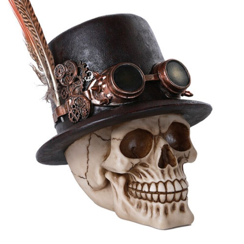 Steampunk Skull with Feathered Top Hat Figurine