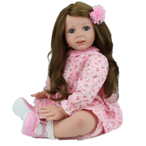 "Reborn Baby Toddler Dolls 24/"" Handmade Vinyl Lifelike Girl Long Hair Xmas Toys"
