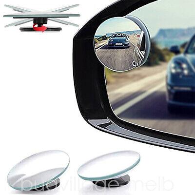 2X Round Blind Spot Mirror HD Glass Frameless Convex Rear View 360° Stick (Glass Spot)