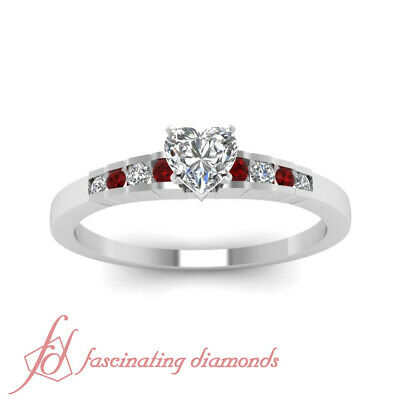 3/4 Carat Platinum Engagement Ring With Heart Shaped Diamond And Round Ruby GIA 1