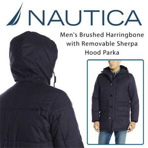 NEW Nautica Mens Brushed Harringbone with Removable Sherpa Hood Parka Condtion: New, Medium, Navy