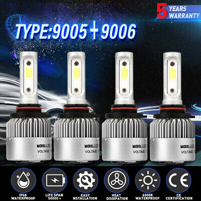 4X LED Headlight Bulbs For Chevy Pickup Truck 1500 2500 3500 1990-2000 High Low
