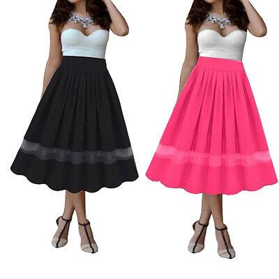 Women Skirt Stretch Plain Flared Pleated High Waist Girl Long Maxi Skirt Dress