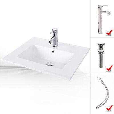 - Drop in Rectangle Ceramic Vessel Sink White Bathroom W/ Faucet Pop Up Drain Set