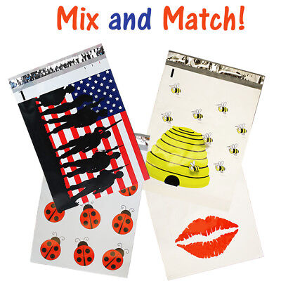 10x13 Poly Mailers Summer Combo Lips Ladybug Flag And Bees Shipping Bags Lot