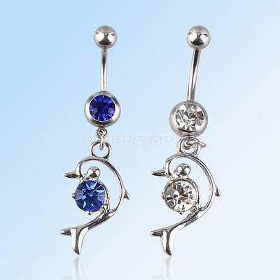 Chic Jewelry Steel Dolphin Dangle Barbell Button Belly Navel Ring Body Piercing