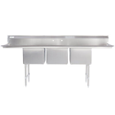 94 3-compartment Stainless Steel Commercial Pot And Pan Sink With 2 Drainboards