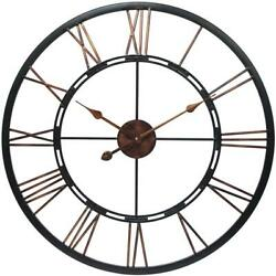 Metal Fusion 28 in.H x 28 in. W Round large Hand Painted Wall contemporary Clock