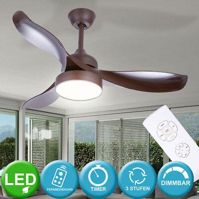LED Design Decken Ventilator Timer Kühler Dimmer Leuchte braun mit