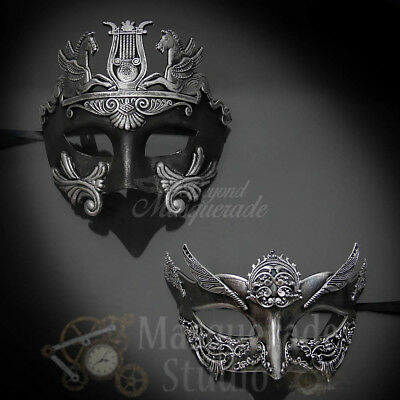 Couples Silver Hercules and Silver Angel Costume Party Masquerade Masks Set](Angel Mask)