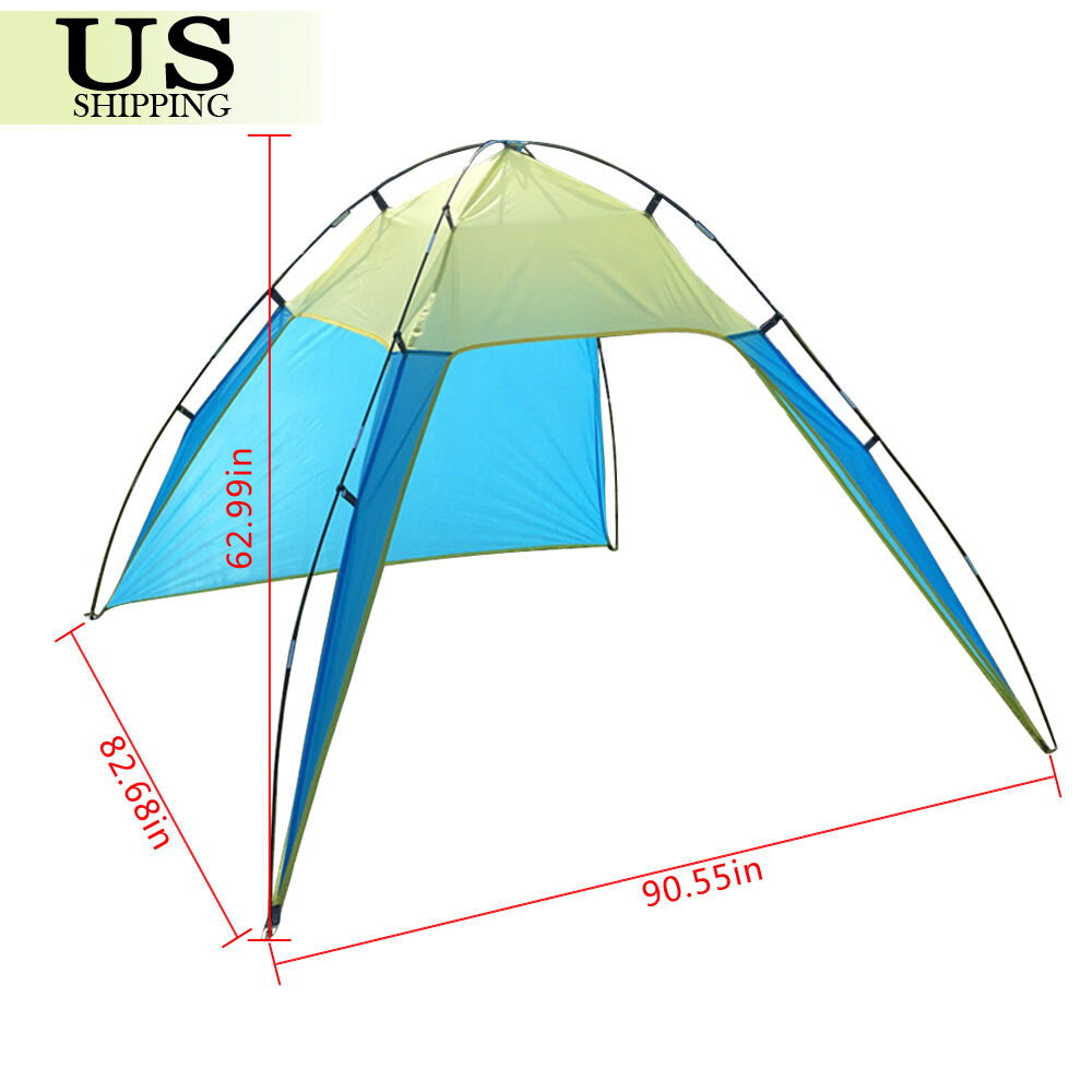 PORTABLE BEACH CANOPY Sun Shade Triangle Patchwork Tent Shelter ...