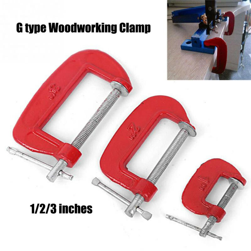 Adjustable C-Clamp G-clamp Heavy Duty Carbon Steel Clamping Device for DIY Carpentry Woodworking Welding