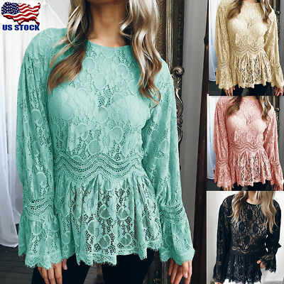 Womens Summer Long Sleeve Lace T Shirt Blouse Ruffle Ladies Loose Crew Neck (Ladies Long Sleeve Crew Neck T Shirts)