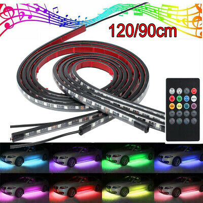 4x 120/90cm  Waterproof RGB LED Under Car Tube Strip Underglow body Neon Lights