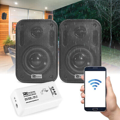 """Bluetooth Wall Speakers and Bluetooth Amplifier System Indoor Outdoor 3"""" Black"""