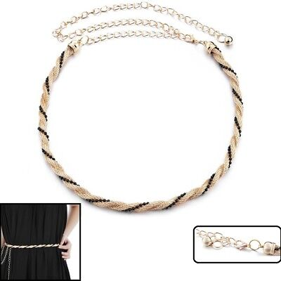 Mujer Niña Malla Cadena Charm Cinturón con Negro Perla Para Vestidos de...