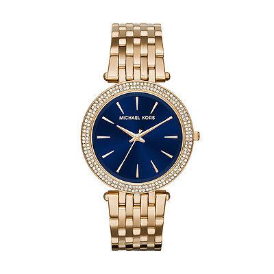 Michael Kors Women's MK3406 Darci Blue Dial Crystal Bezel Gold-Tone Steel Watch