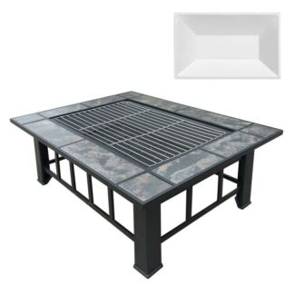 OUTDOOR FIRE PIT BBQ TABLE GRILL FIREPLACE W/ ICE TRAY FREE SHIP