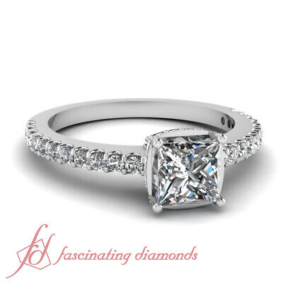 1 Carat Princess Cut And Round Diamond Engagement Rings Pave Set GIA Certified