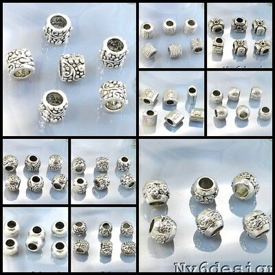 Big Hole Silver Pewter Spacer Beads 6pcs Cross Ondelle Flower Free Shipping (Big Beads)