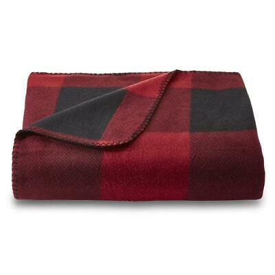 Cannon Red Buffalo Check Plaid Black/Red Fleece Throw Blanket 50x60in