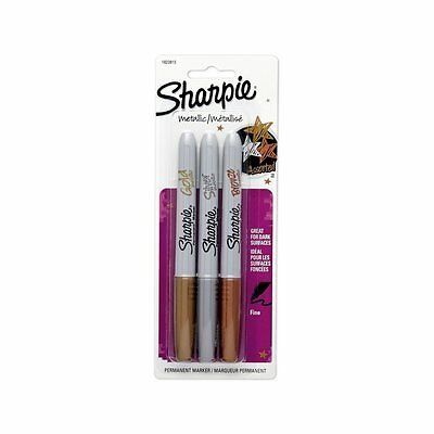 Sharpie Metallic Fine Point Permanent Markers Pen Gold Silver Bronze Assorted 3