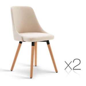 2 x Devon Beige Fabric Dining Chair