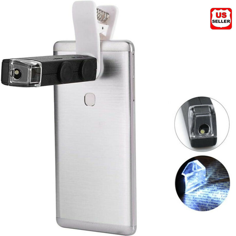 Portable 60-100x Microscope Jewel Magnifier Magnifying Loupe LED Phone Clamp USA