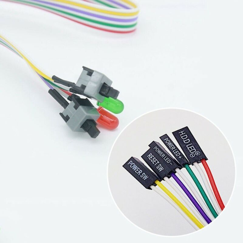 Off Reset with LED Hot ATX PC Computer Motherboard Power Cable 2 Switch On