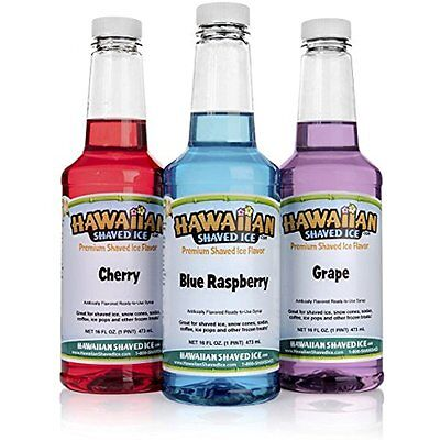 Home Kitchen Features 3 Flavor Pack Of Shaved Ice Syrup Top Snow Cone Flavors