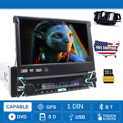 Single 1 Din LCD In Dash GPS Stereo Radio Car DVD Player Touch Screen BT+Camera