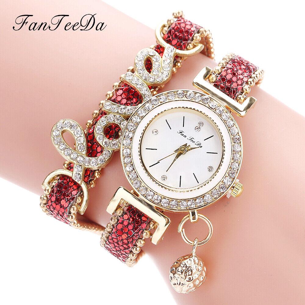 Women's Watch Crystal Alloy Analog Love Quartz Bracelet Dress Wrist Watches Gift Jewelry & Watches