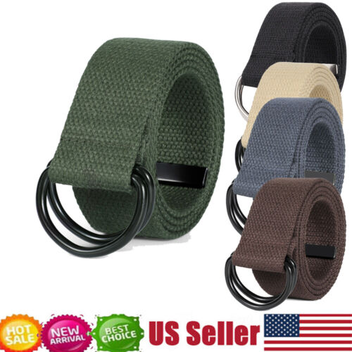 Fashion Canvas Webbing D Ring Belt Black Buckle Military Style For Men Women New
