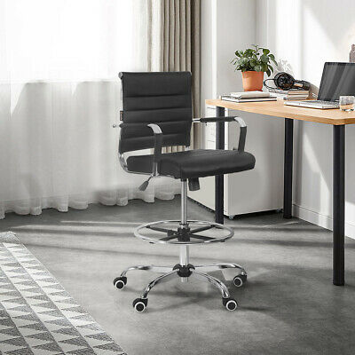 Office Chair Gaming Drafting Ergonomic Computer Pu Leather Executive Seat Black