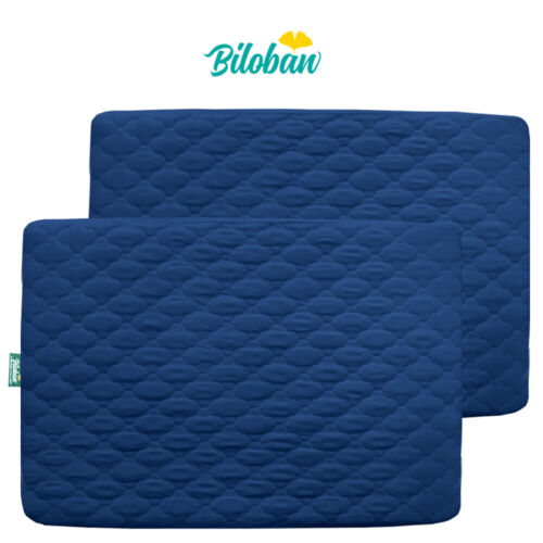 Mini Crib Mattress Pad Cover Fitted Pack N Play Protector Sheet Quilted 2 Pack