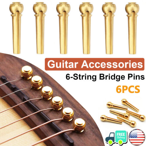 6PCS Guitar Bridge Pins String End Pegs Pure Brass Endpin for Acoustic Guitar US