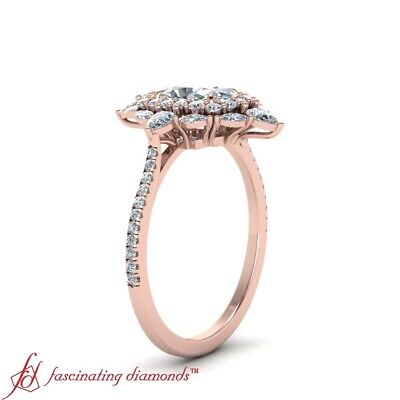 2 Ctw Oval Shaped Diamond Delicate Shank Art Deco Halo Rose Gold Engagement Ring 2