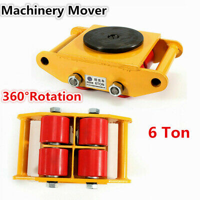 6 Ton Heavy Duty Machine Dolly Skate Roller Machinery Mover 360 Rotation Yellow